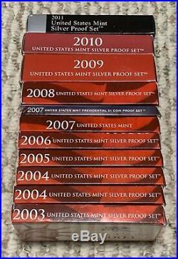 LOT OF (10) 2003 2011 COMPLETE U. S. MINT SILVER PROOF SETS 2004-x2 BEAUTIFUL