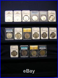 Last Chance Just Reduced 15%! Peace Dollar Complete Set 16 Are Graded