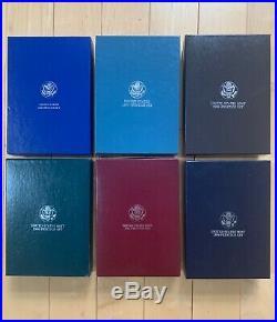 Lot 6 Prestige Proof Sets, SAVE Complete, 1986, 1987, 1989, 1990, 1992, 1994