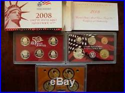 Lot US Mint Silver Proof complete coin sets 2002 2003 2004 2005 2006 2007 2008
