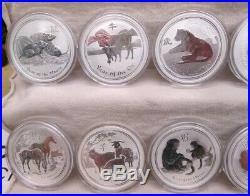 Lunar Series II Perth Mint Australia 12 Coin 1 Oz Silver Set Complete 2008-2019