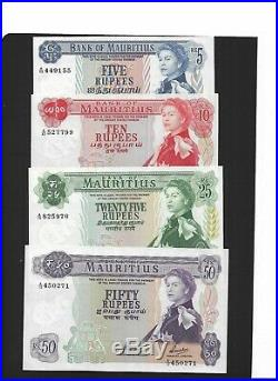 Mauritius 1967 Rs5, Rs10, Rs25 and Rs50, Complete set in UNC Condition