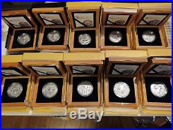 Mongolia 500 Togrog Wildlife Collection Complete Set 10 Coins withWood Boxes&COAs