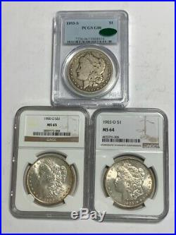 Morgan Dollar Complete 95 Coin Set All Key Dates & Mint Marks 1893-s Pcgs Graded