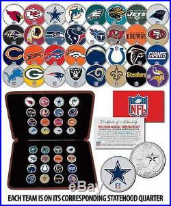 NFL TEAM LOGOS COMPLETE Colorized 32-Coin Set Statehood Quarters withDisplay Box