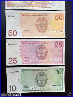 Netherlands Antilles Complete Set of 5- 10 25 50 100 250 Gulden Banknotes UNC #5
