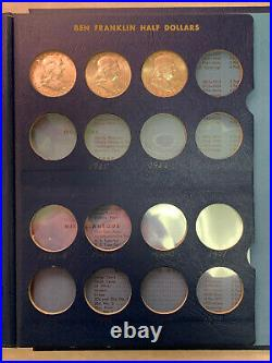 Nice Complete Set of 35 Uncirculated 1948-1963 Franklin Halves in Whitman Album