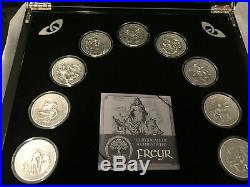 Norse Gods Set COMPLETE! With box, 2oz Silver, 10$ Cook Islands 2015