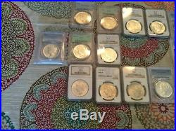 Peace dollars complete set 23@MS, 1@Au58, PCGS or NGC 24 coins graded