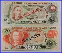 Philippines COMPLETE 6 SPECIMEN SET 1978 003118 CS1 P 159a 164a UNC COA