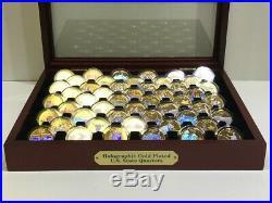 Postal Commemorative Gold-Plated Hologram Complete 50 State Quarter Set Wood Box