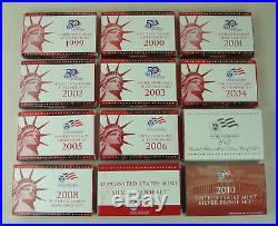 Proof set Silver 1999 2010, 12 complete sets 141 coins US MINT Run lot