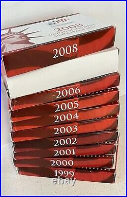 Proof sets Silver 1999 2008, 10 complete sets 109 coins US MINT Lot