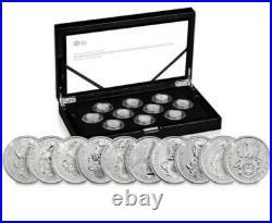 Queens Beast 2021 UK Quarter-Ounce 1/4 oz Silver Proof Complete 10 Ten Coin Set