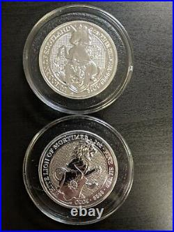 Queens Beasts BU 2oz silver set with 1oz silver proof completer coin
