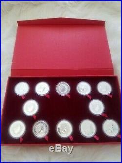 RARE 1999-2010 AUSTRALIA SILVER LUNAR COMPLETE SET 12 COINS 1OZ WithBOX
