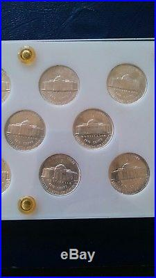 Rare 12 coin Jefferson Silver War Nickel Complete Set! Unc & 1942 type 2 proof