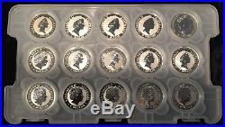 Rare! Complete Set (30) Australia 1 Oz. Silver Kookaburra Coins 1990 2019