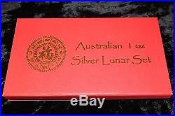 Rare! Complete Set Australia 1 Oz. Silver Lunar Series 1 Coins 1999 2010