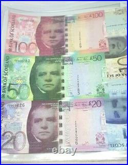 Replacement Set 2007 Bank Of Scotland Stevenson/matthew £100/£50/£20/£10/£5 Note