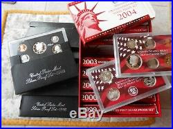 SILVER 1992-1998 1999-2008 17 COMPLETE U. S. PROOF SETS 144 COINS WithSTORAGE BOX