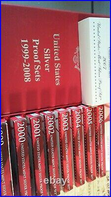 Silver Proof set run. 1999 thru 2008. 10 complete sets with storage box