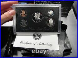 Silver US Proof Set Lot (28) Different Dates from 1992-2019 Complete w COA AJ510