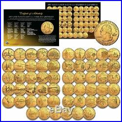 US Statehood Quarters GOLD plated Legal Tender 56-Coin Complete Set Capsules