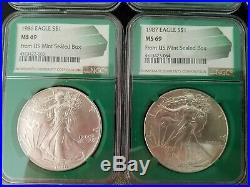 U. S. SILVER Eagle Set COMPLETE 1986 to 2020 in GREEN NGC MS 69 Monster Box