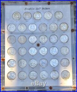 Uncirculated Complete Set Franklin Silver Half Dollars 35 Coins Capital Holder