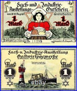 XXX-RARE COMPLETE SET of 1922 JEWISH TRADE MONEY w STAR of DAVID! READ HISTORY