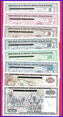 Yugoslavia, Kosovo complete set of 8 banknotes in 1999. UNC
