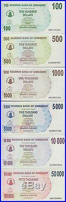 Zimbabwe 1 Cent-$100 Trillion Dollars, 66 PCS Full Complete Set, 2006-2009, UNC